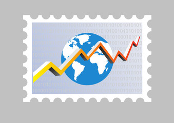 illustration of an stamp with a graph