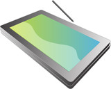 Tablet PC notebook open with screen, 3d isometric illustration poster