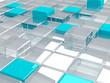 blue plastic and transparent glass cubes