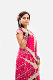 Fototapety Beautiful Bengali bride in colorful dress, isolated