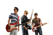 Trendy group of teenagers with musical instruments