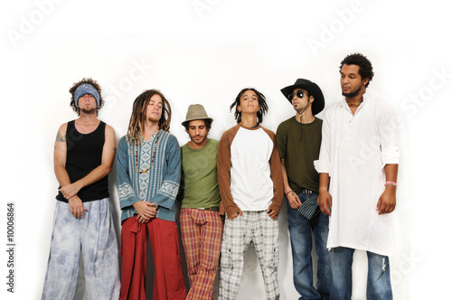 Multiracial group of young male friends standing together