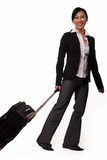 Full body of an asian woman dragging suitcase poster