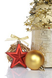 Christmas decoration on white background. Shallow DOF