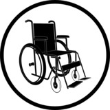 Vector invalid chair icon. Black and white. Simply change. poster