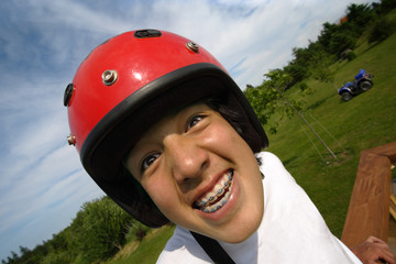 Excited helmet boy
