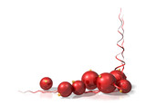 Christmas motif using red baubles and streamers poster
