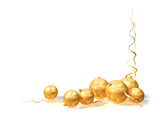 Christmas motif using gold baubles and streamers poster