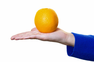 hand with orange on it on white background