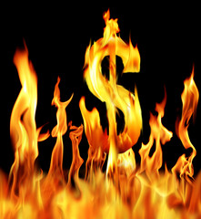 dollar sign shapped fire flame over black background