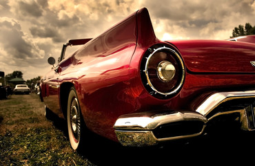 Close up shot of a vintage car in sepia color tone © SNEHIT
