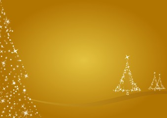 gold merry christmas background, trees