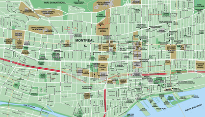 Montreal Downtown City Map