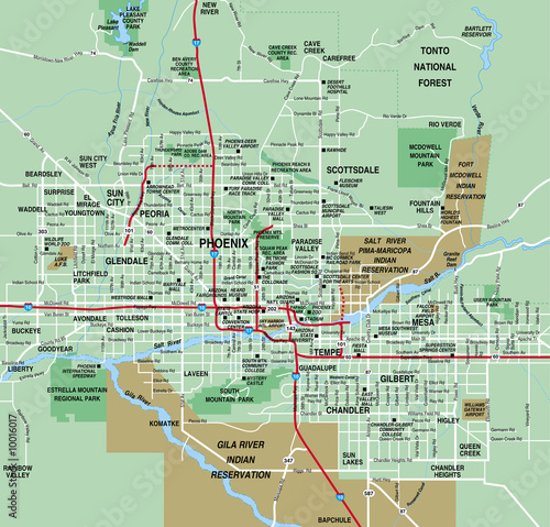 Phoenix, AZ Metro Area Map | Buy Photos | AP Images | DetailView