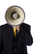 A business man, banker or preacher with a megaphone