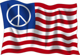 Wavy USA peace flag poster