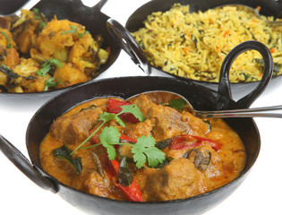 Lamb korma with vegetable curry and rice