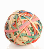 colorful ball made of elastic bands or rubber bands poster