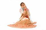 beautiful harem girl or belly dancer or Hindu bride sitting poster