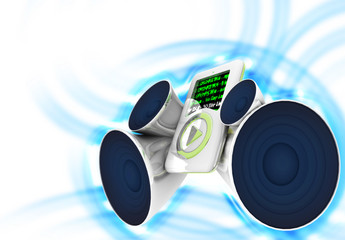 an mp3 player with speakers producing high sound