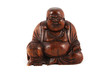 Wooden Buddha isolated on white. Includes clipping path