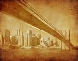 Fototapety grunge image of brooklyn bridge, new york, usa