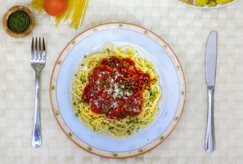 Spaghetti and tomato sauce,close up