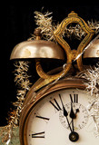 Vintage alarm clock on New Years Eve poster
