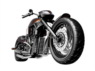 Motorcycle on a white background