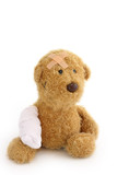 Teddy bear ill on white background poster