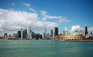 Navy Pier and Chicago's Skyline from Lake Michigan
