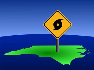 hurricane warning sign on North Carolina map illustration