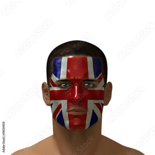 Portrait of a male with a British flag painted on his face.