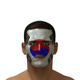 Portrait of a male with a Korean flag painted on his face.