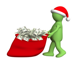 Puppet with the christmas bag full of dollars