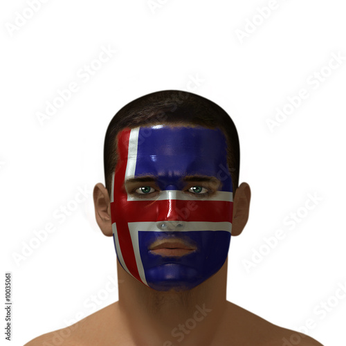 Portrait of a male with an Icelandic flag painted on his face.