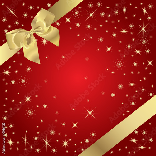Magic Present (Golden Bow On Magic Background)