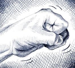 Ballpoint pen illustration of a fist knocking on a door