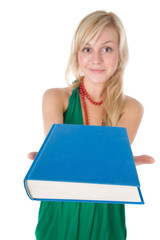 Young pretty girl with book  on the white