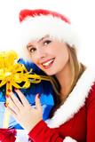 beautiful dreamy woman dressed as Santa poster
