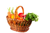 woven basket with vegetables isolated on the white background poster