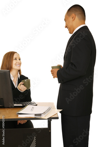 isolated shot of business people holding coffee cup