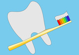 Gold tooth brush with toothpaste on it poster