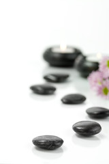 Pebbles, candles and flowers. SPA concept