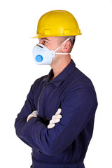 young worker with protecnion clothes background