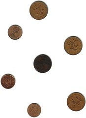 Old english coins with half penny from 1861