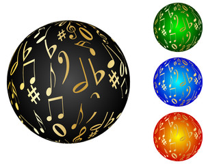 musical balls different colors