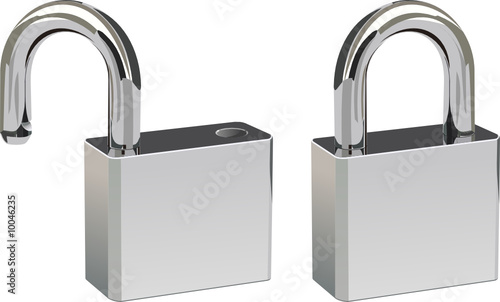 Two padlocks in open and closed positions. - 10046235