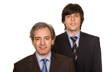 two young business men portrait, focus on the right man