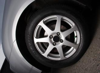 Alloy wheel on car